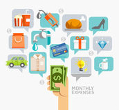 Monthly Expenses Conceptual Flat Style. Stock Photos