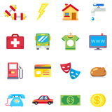 Monthly expenses, costs flat vector icons Royalty Free Stock Photo