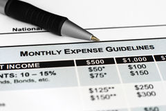 Monthly  expenses guidelines Stock Photography