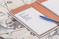 Monthly expenses list on Turkish lira banknotes Royalty Free Stock Photos