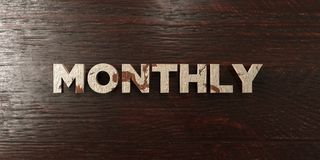 Monthly - grungy wooden headline on Maple  - 3D rendered royalty free stock image Royalty Free Stock Images