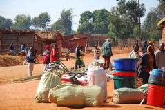 The monthly market in the Village of Pomerini in Tanzania, Afric Stock Photos