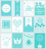 Monthly Milestone baby card. Or background. vector illustration Stock Photo