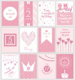 Monthly Milestone baby card. Or background. vector illustration Royalty Free Stock Photos