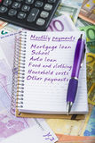 Monthly payments list Royalty Free Stock Photography