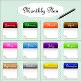 Monthly plan with calendar of the year Royalty Free Stock Photo