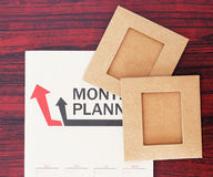 Monthly plan and paper Royalty Free Stock Photos