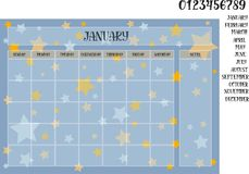 Monthly planner on starry background. Monthly planner on a blue background with stars names of months with numerals Royalty Free Stock Photos
