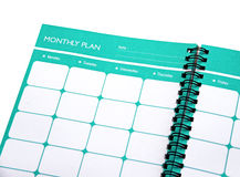 Monthly planner close up Royalty Free Stock Photography