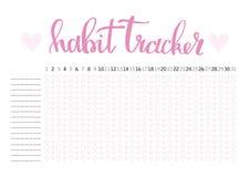 Monthly Planner Habit Tracker Blank Template Stock Vector