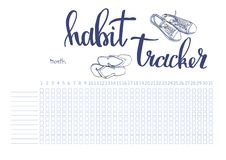 Monthly planner habit tracker blank template stock illustration