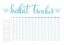Monthly planner habit tracker blank template Royalty Free Stock Photo
