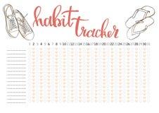 Monthly planner habit tracker blank template. Bullet journal style Stock Image