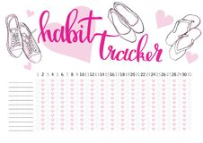 Monthly planner habit tracker blank template. Bullet journal style Stock Images