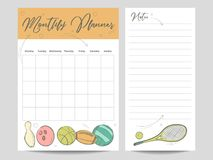Monthly planner and page for notes template. With sketch sport elements. Vector illustration Royalty Free Stock Photo