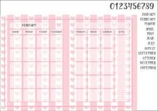 Monthly planner template book size on the striped pink background. Monthly planner book size on the striped pink background with hearts, names of months and Stock Image
