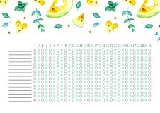 Habit tracker blank with trend design. royalty free stock photos