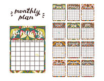 Monthly Planner Template. Planner Calendar with All Months. Royalty Free Stock Photography