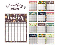 Monthly Planner Template. Planner Calendar with All Months. Stock Photos