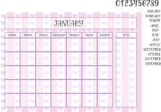Monthly planner on a violet striped background with hearts. And numerals, names of months, days of the week Stock Images