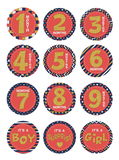 Monthly pregnancy belly stickers with glitter elements for photo and fun. Fancy childish background patterns. It is a boy and it i Stock Photo