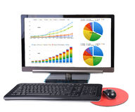 Monthly report. Monthly charts and report show on computer display on white background Royalty Free Stock Photos
