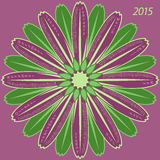 Monthly round calendar for 2015. 2015 calendar flower with months on petals flower, English Stock Photo