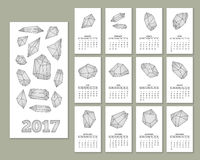 Monthly wall calendar for year 2017 Stock Image
