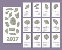 Monthly wall calendar for year 2017 Royalty Free Stock Photo