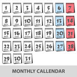 Monthly wall calendars with days icons set eps10 Royalty Free Stock Images