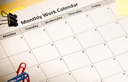 Monthly work calendar Stock Images