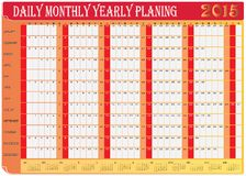 Daily Monthly Yearly 2015 Calendar Planing Chart Stock Image