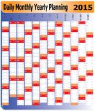 Daily Monthly Yearly 2015 Calendar Planning Chart. Vector of Planning Chart of Daily Monthly Yearly 2015 vector illustration