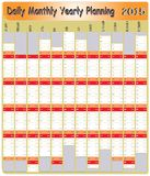 Daily Monthly Yearly 2015 Calendar Planning Chart Royalty Free Stock Photo