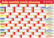 Daily Monthly Yearly 2015 Calendar Planning Chart Royalty Free Stock Image