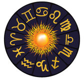 Monthly zodiac. With the sun in the center of the circle Stock Illustration