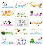 Months. Illustrations showing January to december months with colorful graphics for different events christmas spring easter newyear summer and st patricks day Royalty Free Stock Photo