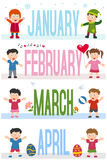 Months Banners with Kids [1]. A collection of banners with kids and the months January, February, March and April. Eps file available stock illustration