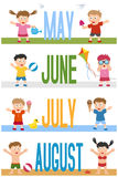 Months Banners with Kids [2]. A collection of banners with kids and the months May, June, July and August. Eps file available Vector Illustration