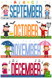 Months Banners with Kids [3]. A collection of banners with kids and the months September, October, November and December. Eps file available Vector Illustration