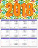 12 Months Calendar Design 2018. Editable Royalty Free Stock Image