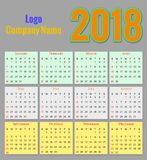 12 Months Calendar Design 2018 Royalty Free Stock Photography