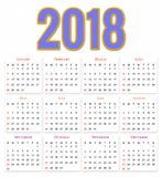 12 Months Calendar Design 2018 Stock Photos
