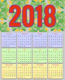 12 Months Calendar Design 2018. Editable Stock Photos