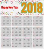 12 Months Calendar Design 2018 Royalty Free Stock Photos