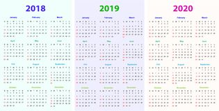 12 months Calendar Design 2018-2019-2020. Printable and editable Stock Photography