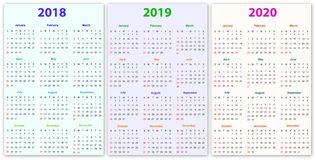 12 months Calendar Design 2018-2019-2020. Printable and editable Royalty Free Illustration