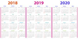 12 months Calendar Design 2018-2019-2020 Royalty Free Stock Images