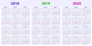 12 months Calendar Design 2018-2019-2020. Printable and editable Stock Photo