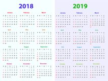 12 months Calendar Design 2018-2019. Printable and editable Royalty Free Stock Photos